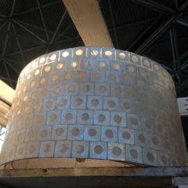 Capiz schelpen cilinder hanglamp /lampenkap 40x40x24  wit