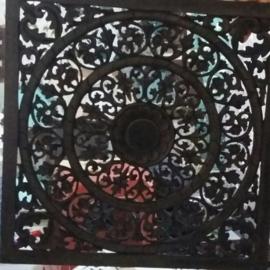 Handgesneden wandpaneel 80x80 cm - zwart