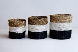 Plantenmand zwart/wit/neutraal waterhyacint
