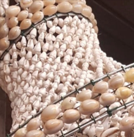 Ibiza schelpen hanglamp 35x100 cm wit
