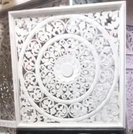 Handgesneden wandpaneel 80x80 cm - wit