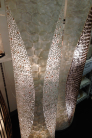 Vloerlamp schelpenlamp_ mozaiek wit ovaal _160 cm