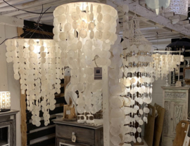 Capiz schelpen hanglamp Medium 40x60 wit