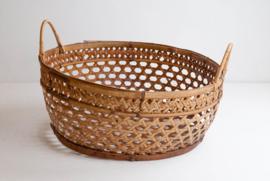 Fijne bamboe mand met handvatten - natural