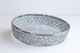 Fijne bamboe mand voor op tafel - grey wash
