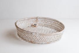 Fijne bamboe mand voor op tafel - whitewash