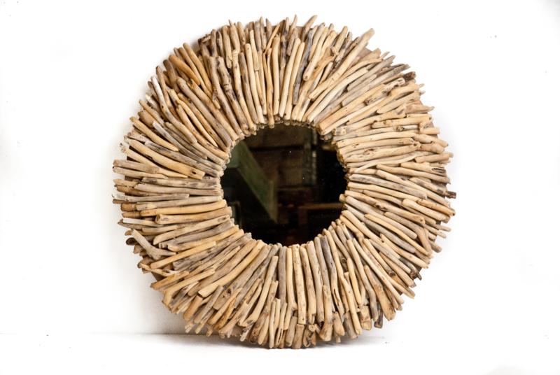 Driftwood ronde spiegel