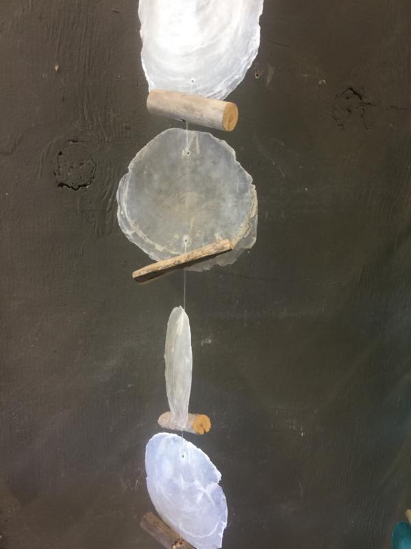 Capiz schelpen guirlande natural big met driftwood