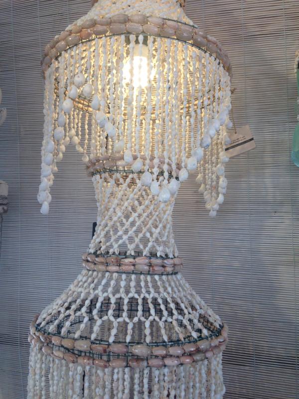 Ibiza star schelpen hanglamp 35x100 cm wit