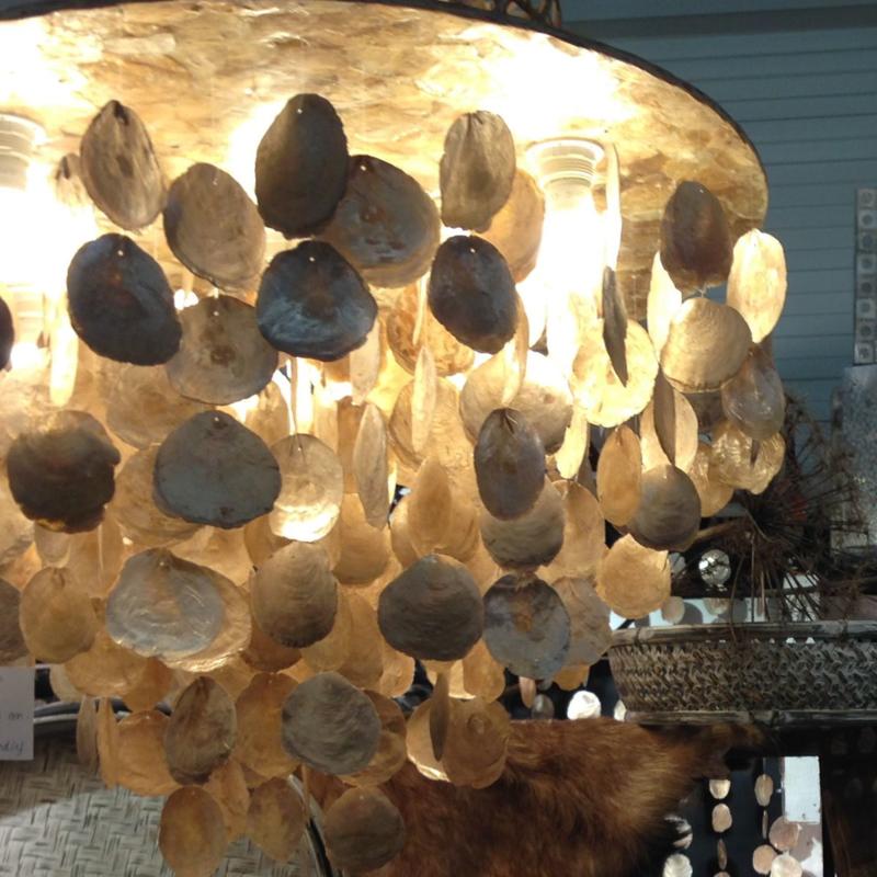 Capiz schelpen hanglamp XL 80x60 goud Natural