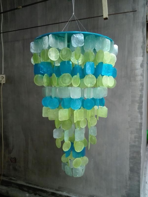 Capiz schelpen hanglamp M 40x60 mix zeegroen/blauw