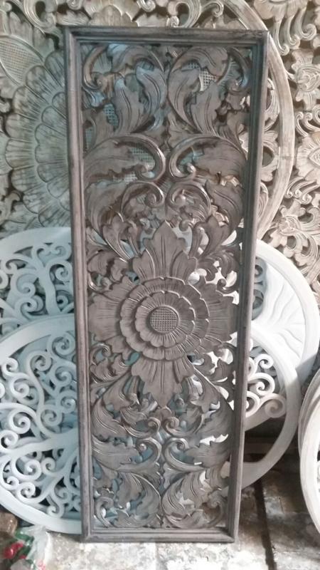 Handgesneden wandpaneel 40x120 cm - grijs