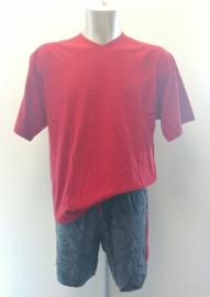 Mey: Night - Pyjama  - Rood/Grijs