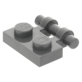 Lego 10 New Dark Bluish Gray Plate Modified 1 x 2 Clip Horizontal Pieces