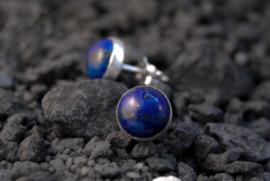Handgemaakte sterling zilver oorstekers met Lapis Lazuli, 8mm cabochon oorbellen