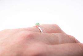 Sterling zilver 4mm Groene Aventurijn  ring