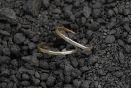 Messing en zilver stapelringen, set van twee
