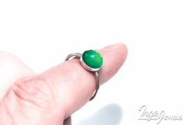 Handmade rose cut 8mm Green Onyx ring