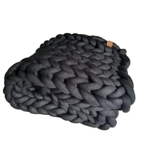 Plaid | Zwart (chunky katoen)