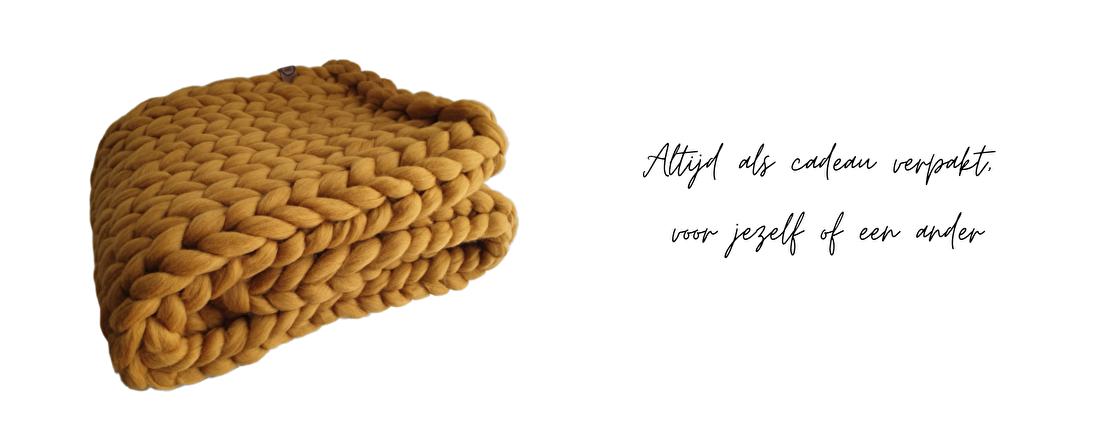 Okergeel plaid merino chunky wol