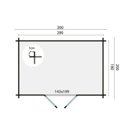 Blokhut Mirte - 290 x 190 cm - incl. montage