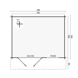 Blokhut Ingmar - 362 x 282 cm - incl. montage