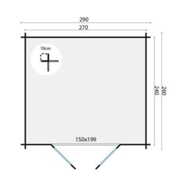 Blokhut Mila - 270 x 240 cm - incl. montage