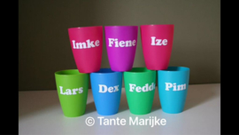 Kleine naamsticker drinkbekers ed