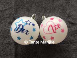 Kerstbalstickers met naam en geboortedatum
