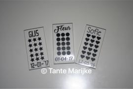 Stickers kerstballen met naam