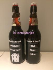 Losse sticker nieuw huis fles