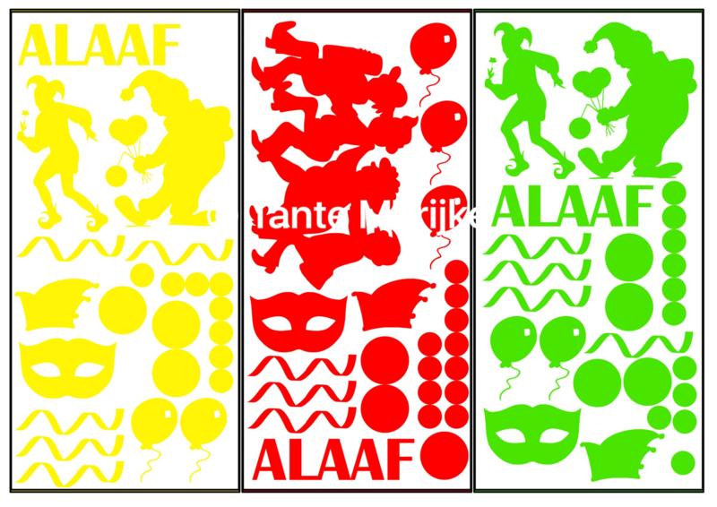 Aanvulling carnaval A4 rood/geel/groen (ook mogelijk in zwart of wit)