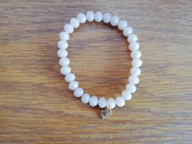 armband met hangertje wit/kristal