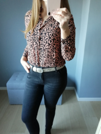 hemd luipaardprint bruin