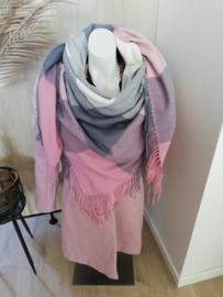 sjaal colorblock roze/grijs/ecru