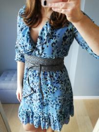 jurk volants palmprint lichtblauw