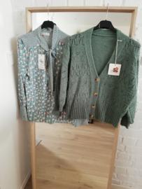 blouse met strikje munt