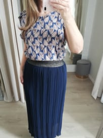maxi-plissé rok blauw