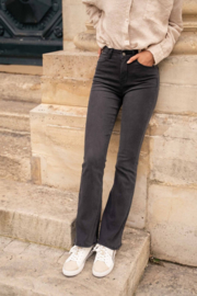 Hoge taille flare jeans donkergrijs