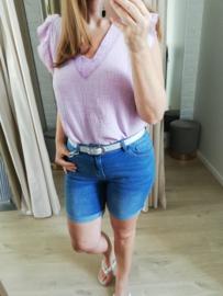 tetra blouse met V-hals lila
