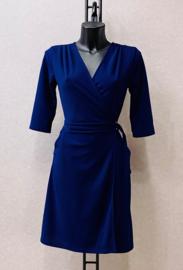 korte jurk met bindlintje blauw