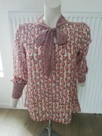 blouse met strikje terra cotta
