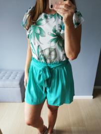 blouse met mouwtjes turquoise bloemenprint