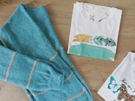 T-shirt pluimpjes turquoise/goud