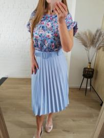 blouse bloemetjes lichtblauw