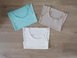 topje turquoise / wit / beige