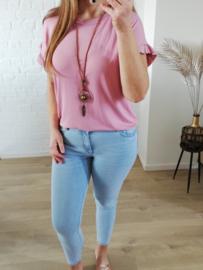 glad T-shirt met ketting oud-roze