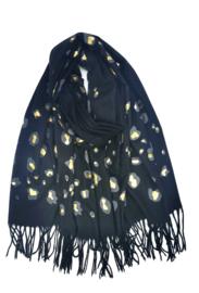 sjaal luipaardprint zwart/goud