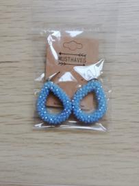 oorring glasparels blauw