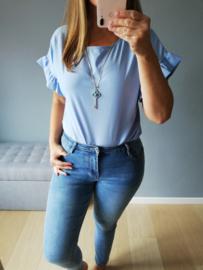 losse blousetop met ketting blauw